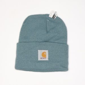 New Carhartt Spell Out Winter Beanie Hat Sea Glass
